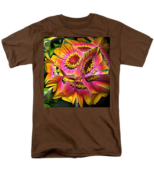 Abstract Yellow Flame Zinnia Men's T-Shirt  (Regular Fit) by Kathy Kelly