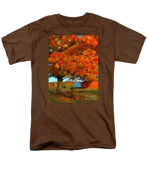 Men's T-Shirt  (Regular Fit) featuring the painting Adirondack Autumn Color Brush by Diane E Berry