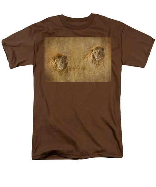 African Lion Brothers Men's T-Shirt  (Regular Fit) by Kathy Adams Clark