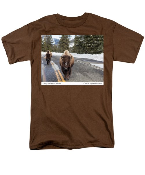 American Bison In Yellowstone National Park Men's T-Shirt  (Regular Fit) by Carol M Highsmith