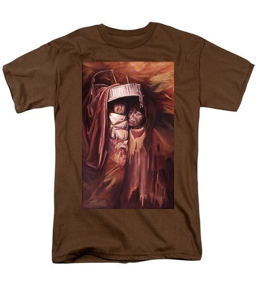 Men's T-Shirt  (Regular Fit) featuring the painting Apache Girl And Papoose by Nancy Griswold