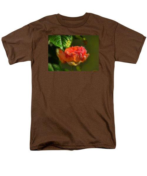 Artistic Rose And Leaf Men's T-Shirt  (Regular Fit)