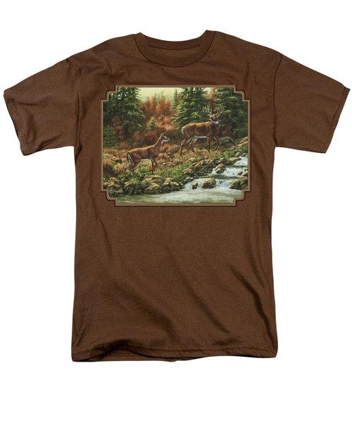 Whitetail Deer - Follow Me Men's T-Shirt  (Regular Fit) by Crista Forest