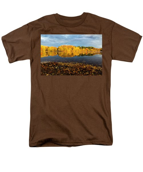 Autumn Morning Reflection On Lake Pentucket Men's T-Shirt  (Regular Fit) by Betty Denise