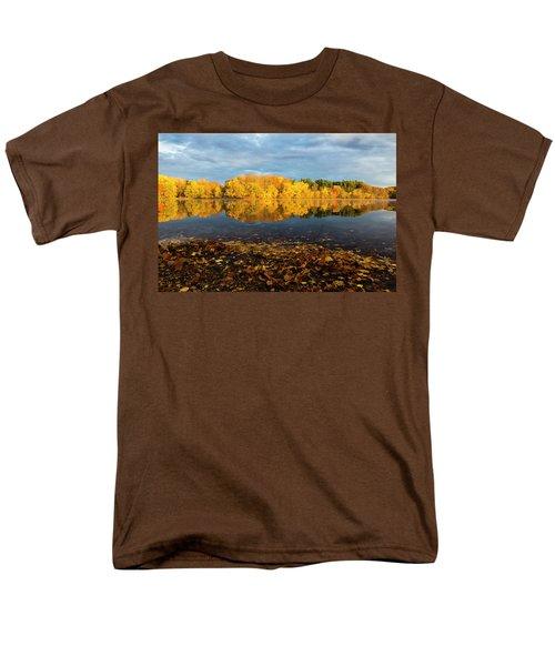 Autumn Morning Reflection On Lake Pentucket Men's T-Shirt  (Regular Fit) by Betty Denise