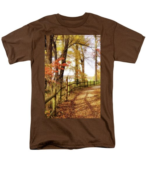 Men's T-Shirt  (Regular Fit) featuring the photograph Autumn Pathway by Jean Goodwin Brooks