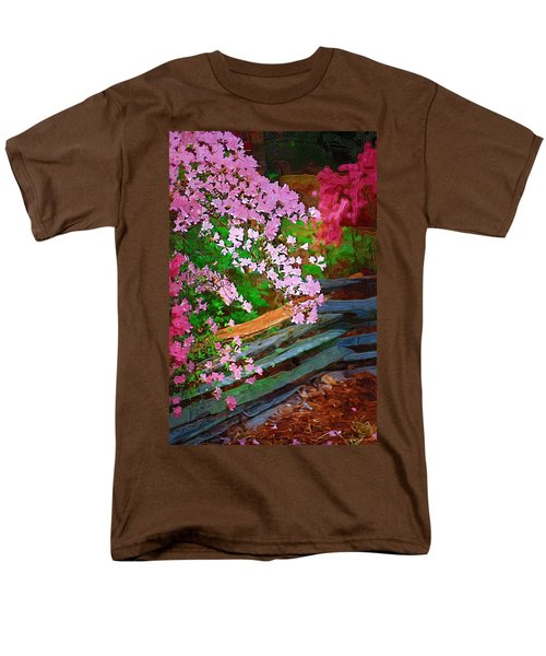 Men's T-Shirt  (Regular Fit) featuring the photograph Azaleas Over The Fence by Donna Bentley