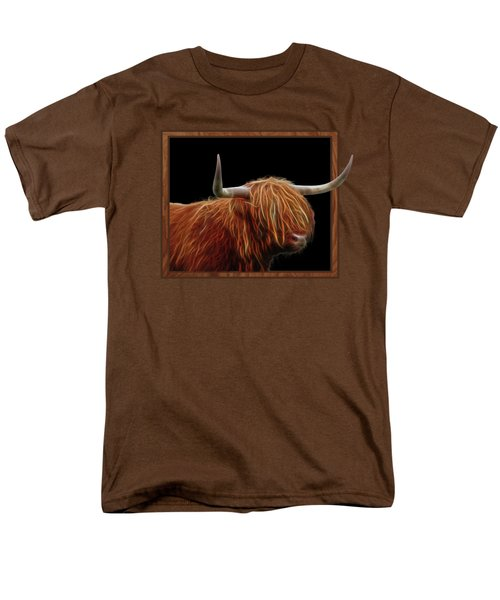 Bad Hair Day - Highland Cow - On Black Men's T-Shirt  (Regular Fit) by Gill Billington