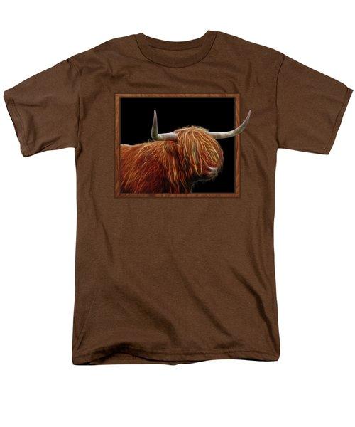 Bad Hair Day - Highland Cow - On Black Men's T-Shirt  (Regular Fit)