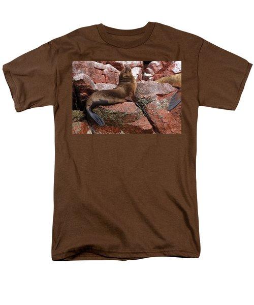 Ballestas Island Fur Seals Men's T-Shirt  (Regular Fit) by Aidan Moran