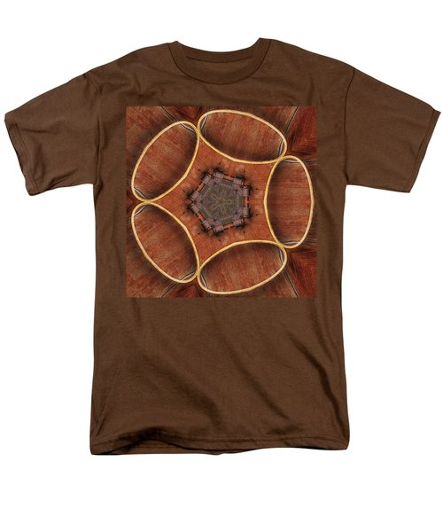 Men's T-Shirt  (Regular Fit) featuring the digital art Barn Wood Kaleidoscope1 Square by Peter J Sucy