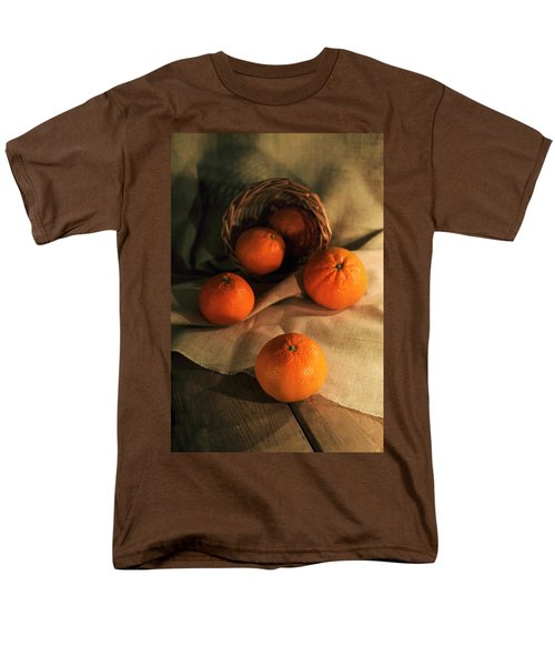 Men's T-Shirt  (Regular Fit) featuring the photograph Basket Of Fresh Tangerines by Jaroslaw Blaminsky