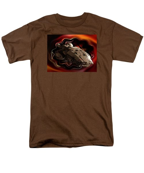 Men's T-Shirt  (Regular Fit) featuring the digital art Battlestar Galactica Emerges From The Stargate by Mario Carini