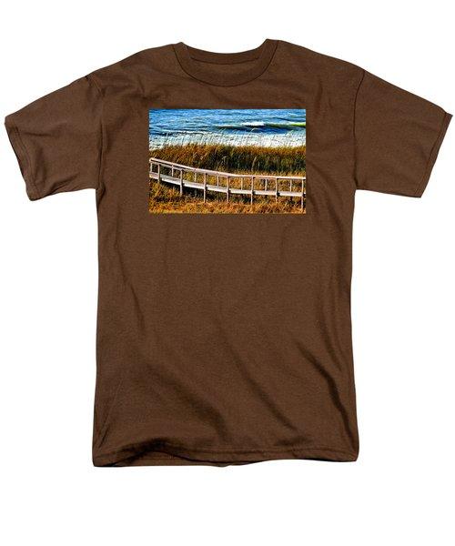 Men's T-Shirt  (Regular Fit) featuring the photograph Beach Boardwalk by Laura Ragland