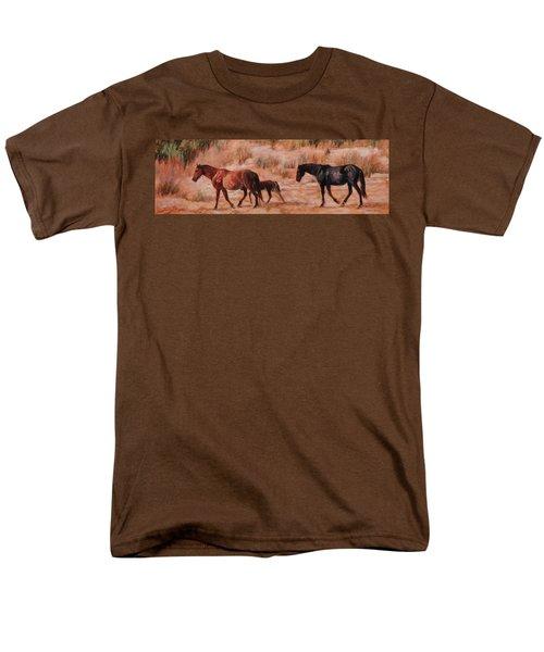 Beach Ponies - Wild Horses In The Dunes Men's T-Shirt  (Regular Fit) by Bonnie Mason
