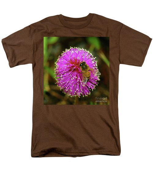 Men's T-Shirt  (Regular Fit) featuring the photograph Bee On Puff Ball by Larry Nieland