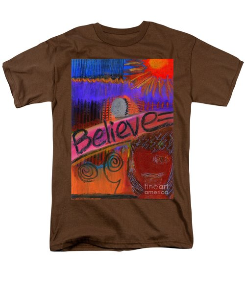 Men's T-Shirt  (Regular Fit) featuring the painting Believe Conceive Achieve by Angela L Walker