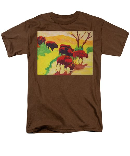 Bison Art Bison Crossing Stream Yellow Hill Painting Bertram Poole Men's T-Shirt  (Regular Fit) by Thomas Bertram POOLE
