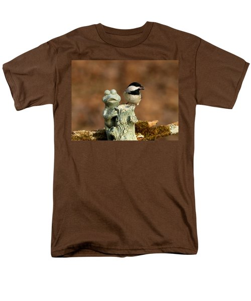 Black-capped Chickadee And Frog Men's T-Shirt  (Regular Fit) by Sheila Brown