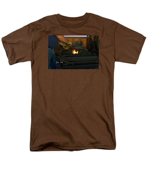 Men's T-Shirt  (Regular Fit) featuring the photograph Blacksmith At Work by Steven Clipperton