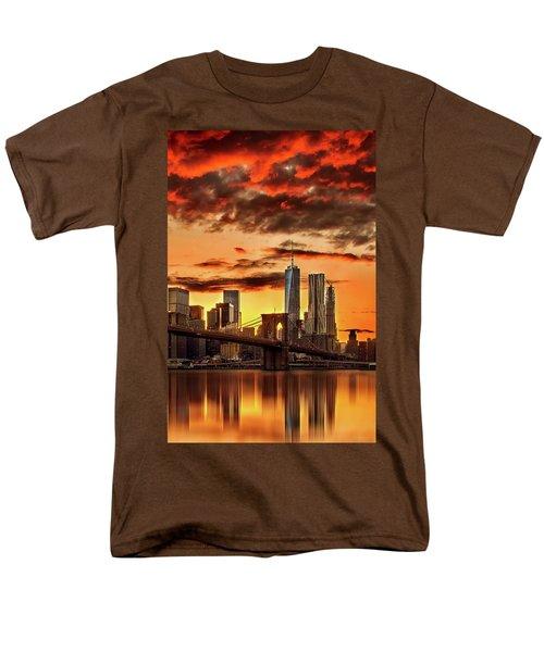 Blazing Manhattan Skyline Men's T-Shirt  (Regular Fit) by Az Jackson