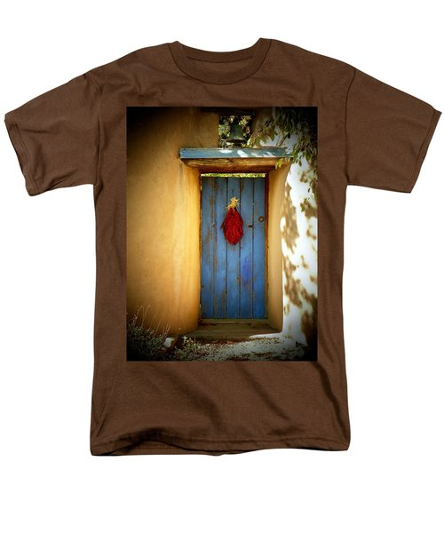 Men's T-Shirt  (Regular Fit) featuring the photograph Blue Door With Chiles by Joseph Frank Baraba
