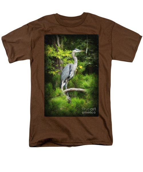 Men's T-Shirt  (Regular Fit) featuring the photograph Blue Heron by Lydia Holly