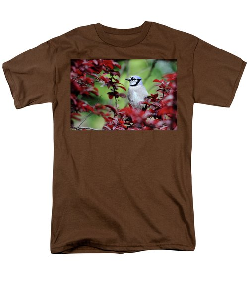 Blue Jay In The Plum Tree Men's T-Shirt  (Regular Fit) by Trina Ansel