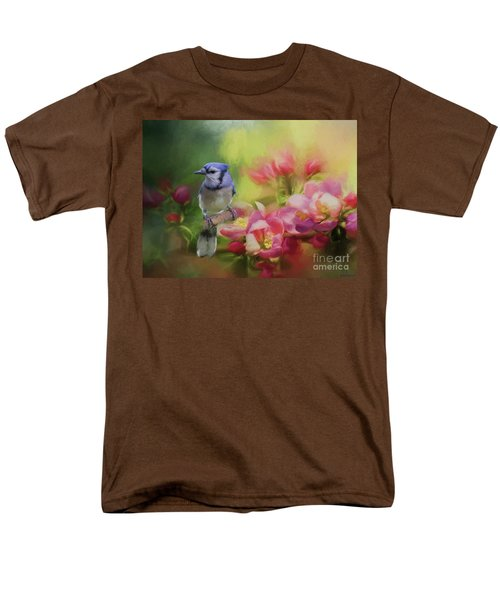 Blue Jay On A Blooming Tree Men's T-Shirt  (Regular Fit) by Eva Lechner