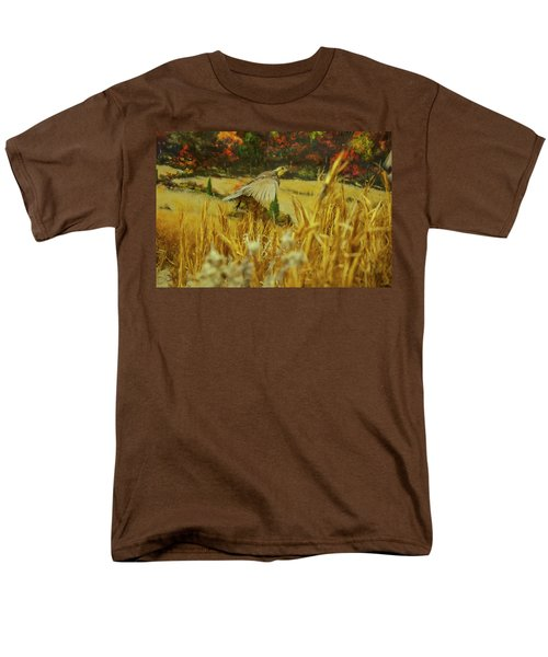 Men's T-Shirt  (Regular Fit) featuring the digital art Bobwhite In Flight by Chris Flees