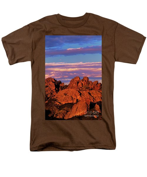 Boulders Sunset Light Pinnacles National Park Californ Men's T-Shirt  (Regular Fit) by Dave Welling