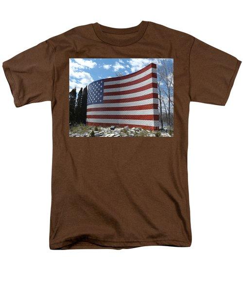 Brick American Flag Men's T-Shirt  (Regular Fit) by Erick Schmidt