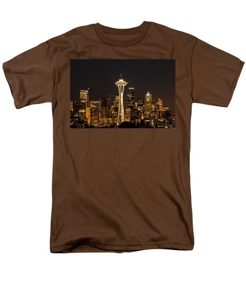 Bright At Night - Space Needle Men's T-Shirt  (Regular Fit) by E Faithe Lester
