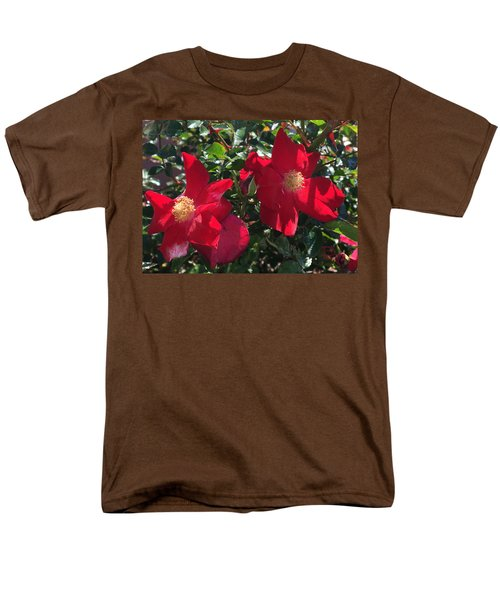 Men's T-Shirt  (Regular Fit) featuring the photograph Brilliant Red Roses by Daniel Hebard