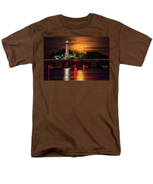 Men's T-Shirt  (Regular Fit) featuring the photograph Burning Moon Rising Over Jupiter Lighthouse by Justin Kelefas