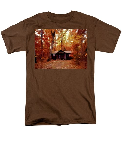 Men's T-Shirt  (Regular Fit) featuring the painting Cabin In The Woods P D P by David Dehner