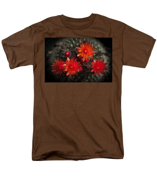 Cactus Red Flowers Men's T-Shirt  (Regular Fit) by Catherine Lau