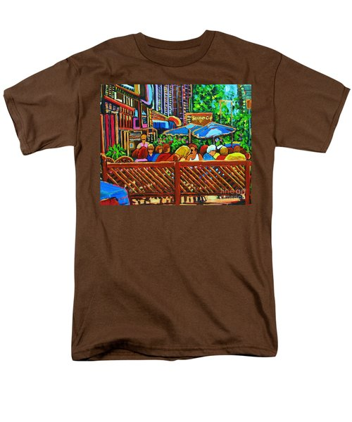 Men's T-Shirt  (Regular Fit) featuring the painting Cafe Second Cup by Carole Spandau