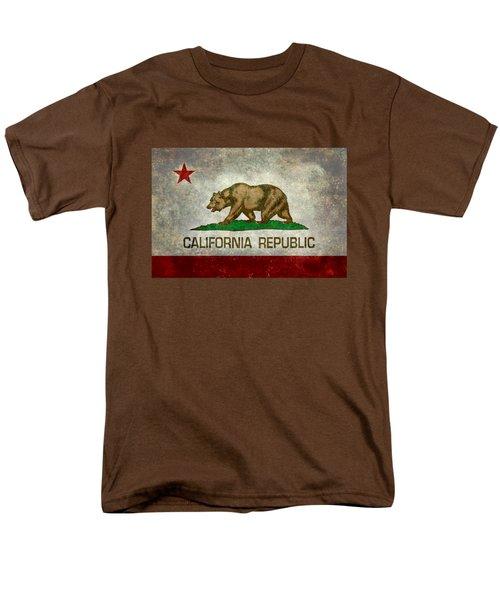 California Republic State Flag Retro Style Men's T-Shirt  (Regular Fit)