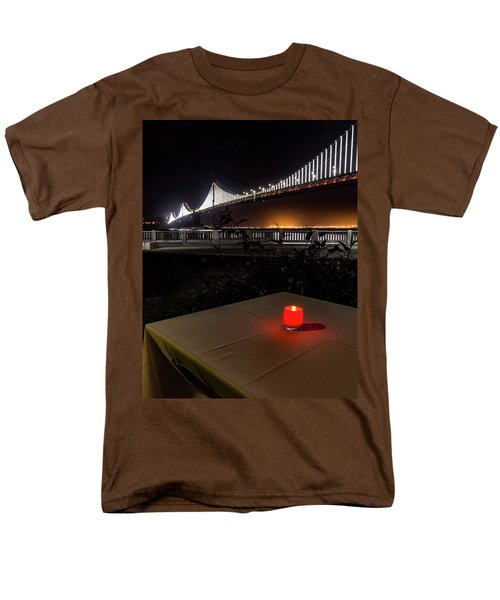 Men's T-Shirt  (Regular Fit) featuring the photograph Candle Lit Table Under The Bridge by Darcy Michaelchuk