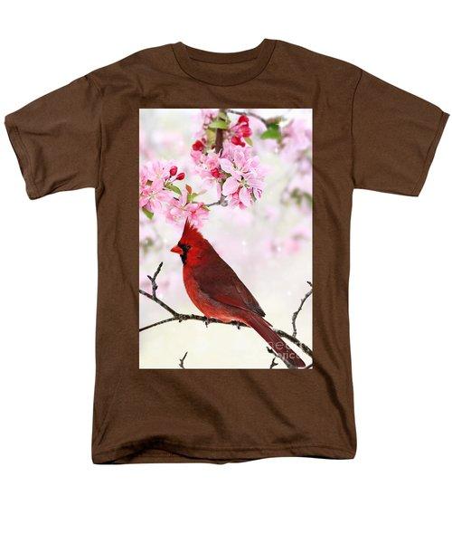 Cardinal Amid Spring Tree Blossoms Men's T-Shirt  (Regular Fit)