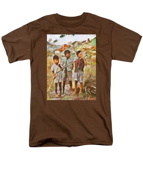 Men's T-Shirt  (Regular Fit) featuring the painting Caribbean Scenes - Eating Sugarcane by Wayne Pascall