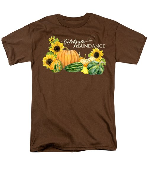 Men's T-Shirt  (Regular Fit) featuring the painting Celebrate Abundance - Harvest Fall Pumpkins Squash N Sunflowers by Audrey Jeanne Roberts