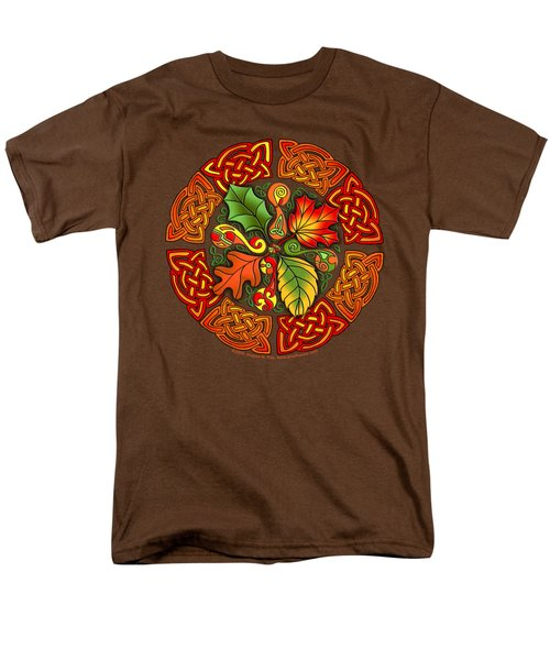 Men's T-Shirt  (Regular Fit) featuring the mixed media Celtic Autumn Leaves by Kristen Fox
