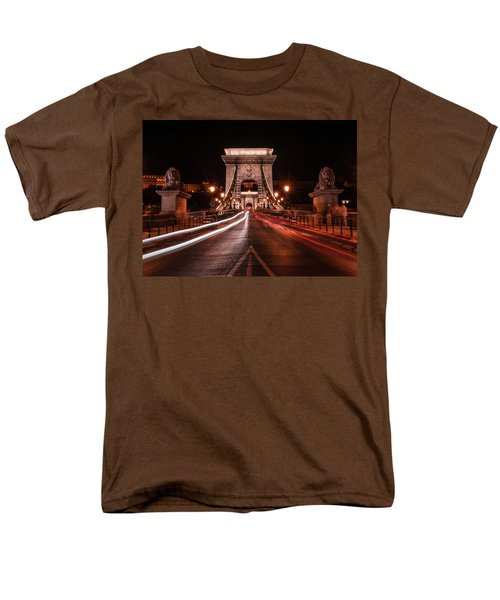Men's T-Shirt  (Regular Fit) featuring the photograph Chain Bridge At Midnight by Jaroslaw Blaminsky