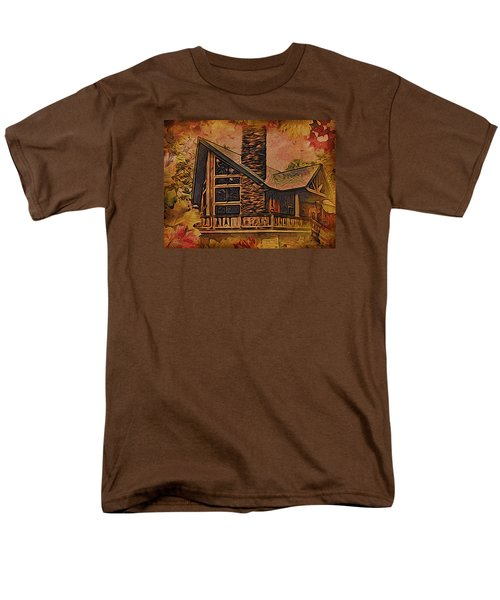 Men's T-Shirt  (Regular Fit) featuring the digital art Chalet In Autumn by Kathy Kelly