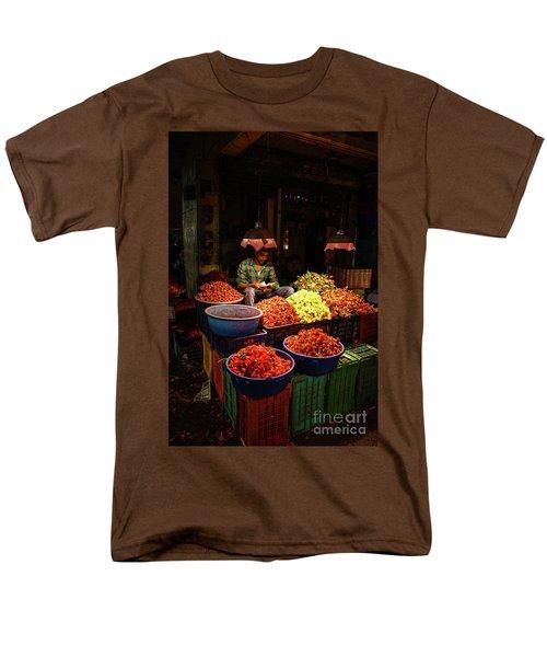 Men's T-Shirt  (Regular Fit) featuring the photograph Cheannai Flower Market Colors by Mike Reid