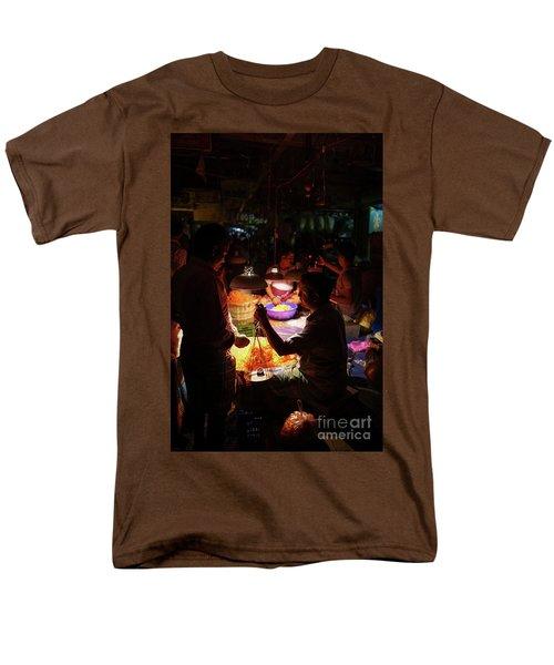 Men's T-Shirt  (Regular Fit) featuring the photograph Chennai Flower Market Transaction by Mike Reid