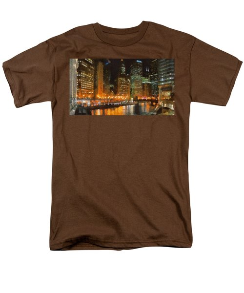 Chicago At Night Men's T-Shirt  (Regular Fit) by Jeff Kolker