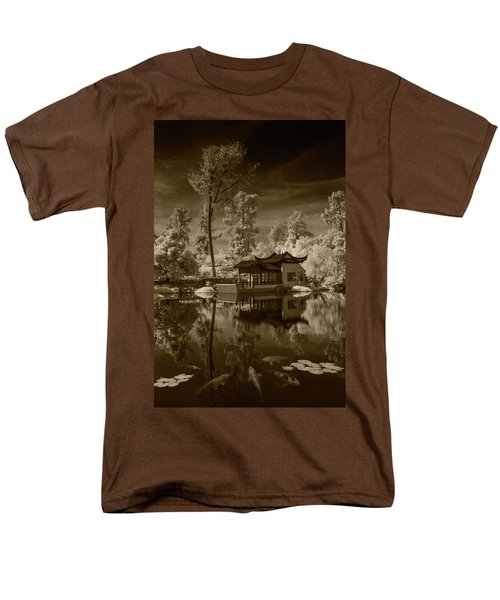 Men's T-Shirt  (Regular Fit) featuring the photograph Chinese Botanical Garden In California With Koi Fish In Sepia Tone by Randall Nyhof